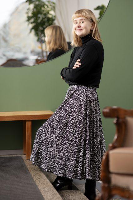 Tankki-hankkeen Evi Rinkinen Helsingistä vaateryhmästä. Kuva: Outi Neuvonen.