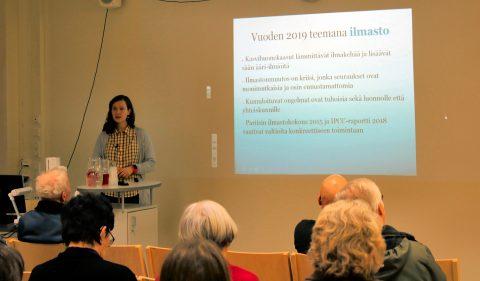 Luonto lainassa -viikon teemana 2019 oli ilmasto. Miia Kokkonen kertoo. Kuva Ahti Keränen.